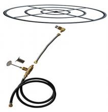 Stanbroil Natural Gas Fire Pit Burner Ring Installation Kit, Black Steel, 30-inch