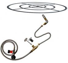 Stanbroil LP Propane Gas Fire Pit Burner Ring Installation Kit, Black Steel, 30-inch