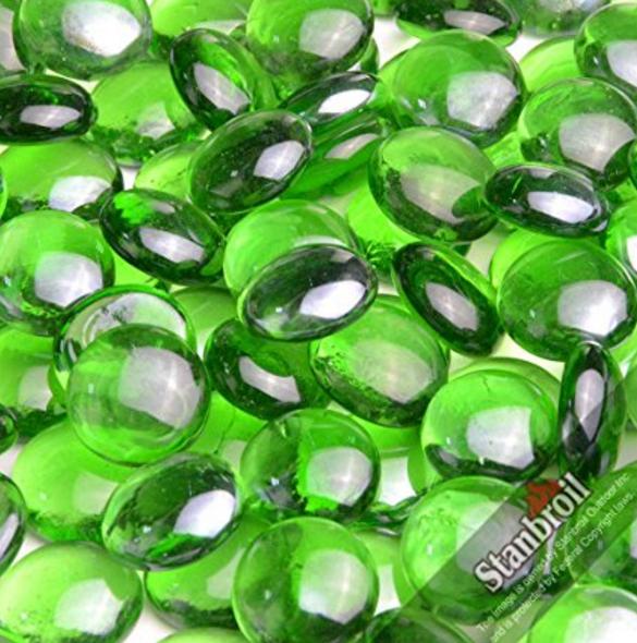 Stanbroil 10-Pound 1/2 Inch Fire Glass Drops for Fireplace Fire Pit, Emerald Green Luster