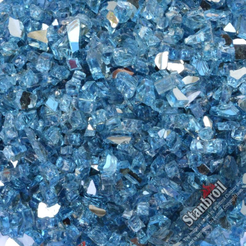 Stanbroil 10-pound 1/4 inch Fire Glass for Fireplace Fire Pit, Pacific Blue Reflective