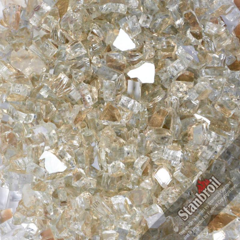 Stanbroil 10-pound 1/4 inch Fire Glass for Fireplace Fire Pit, Platinum Reflective
