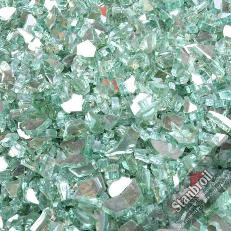 Stanbroil 10 Pound 1/4 Inch Fire Glass For Fireplace Fire Pit Light Green  Reflective