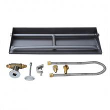 Stanbroil 24-inch Natural Gas Powder Coated Steel Fireplace Dual Flame Pan Burner Kit