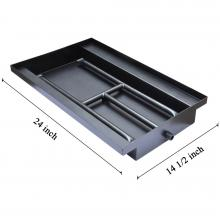 Stanbroil 24-inch Powder Coated Steel Fireplace Box Pan with Dual Flame Burner