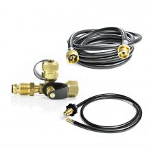 Stanbroil Propane Brass Tee Adapter Kit with 4-Port with 5-feet and 12-feet Hose for motorhome or RV