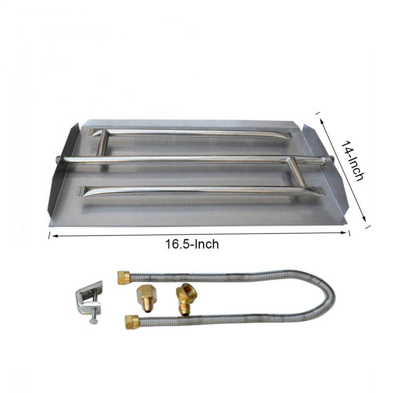 Stanbroil Stainless Steel Natural Gas Fireplace Triple Flame Pan Burner Kit, 16.5-inch