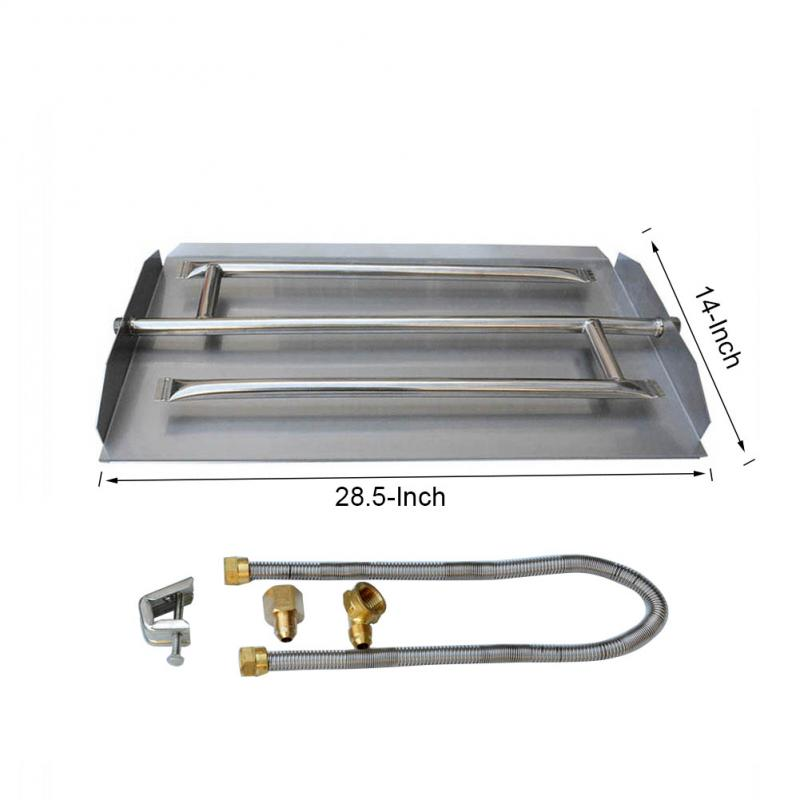 Stanbroil Stainless Steel Natural Gas Fireplace Triple Flame Pan Burner Kit, 28.5-inch