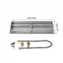 Stanbroil Stainless Steel Natural Gas Fireplace Dual Flame Pan Burner Kit, 26.5-inch