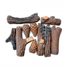 Stanbroil 10 Piece Set of Ceramic Wood Set of Fireplace Logs for All Types of Ventless & Vent Free, Gel, Ethanol, Electric,Gas Inserts, Propane, Indoor or Outdoor Fireplaces & Fire Pits.
