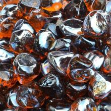 Stanbroil 10-Pound 1/2 Inch Fire Glass Diamonds for Fireplace Fire Pit, Amber Luster