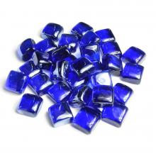 Roll over image to zoom in Stanbroil 10-Pound 1-Inch Fire Glass Cubes for Fireplace Fire Pit, Royal Cobalt Blue Reflective