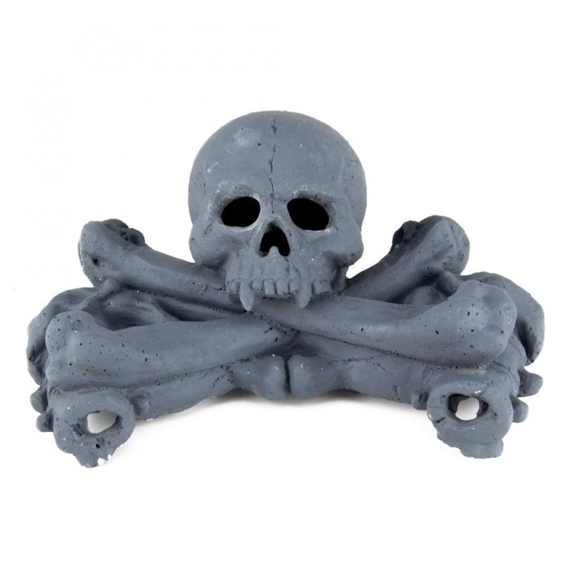 Stanbroil Imitated Human Skulls and Bones Gas Log for Indoor or Outdoor Fireplaces, Fire Pits, Halloween Decor, 1-Pack, Gray