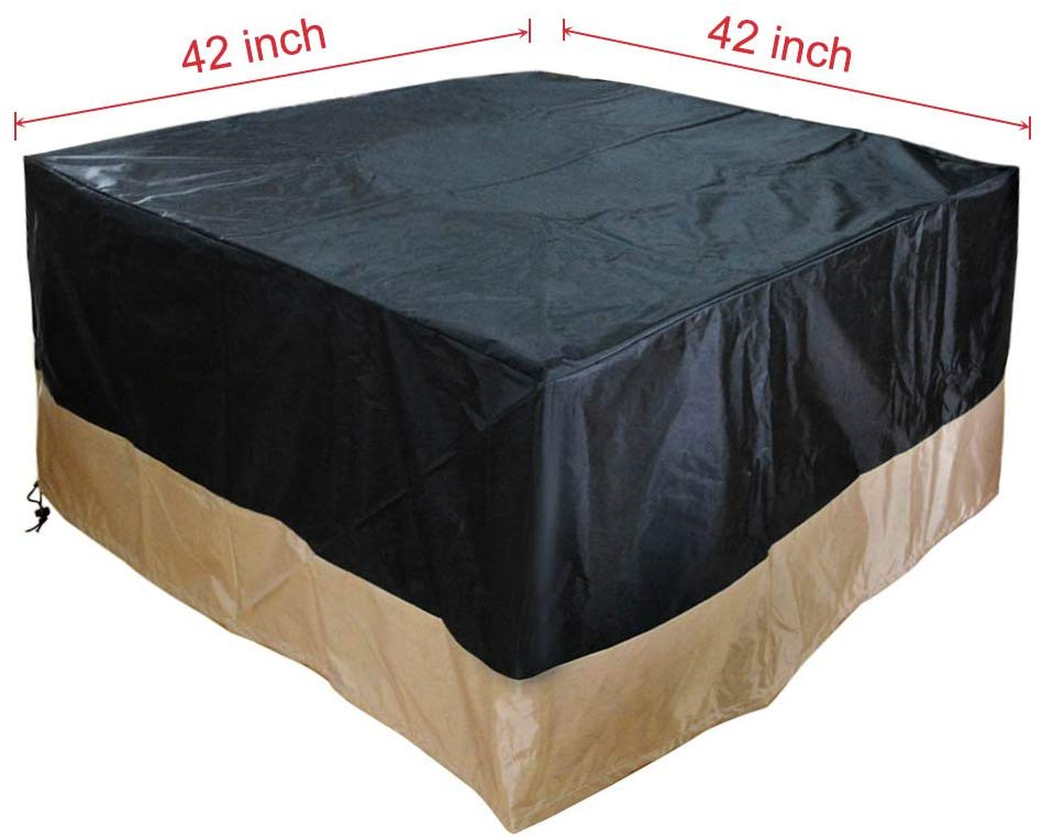 Stanbroil Square Fire Pit /Table Cover, Black, 42-Inch