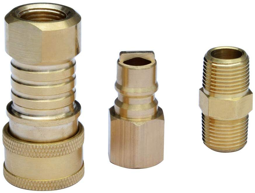 "Stanbroil Propane/Natural Gas 100% Solid Brass Quick Connector Kit 3/8"" Male NPT Thread x 3/8"" Female NPT Thread"