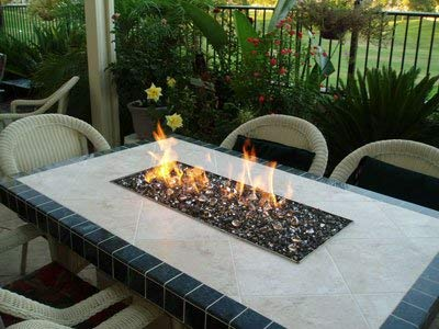 Stanbroil Rect Drop-in Fire Pit Pan w/H-Burner installed, 304 Series SS, 36 by 12-Inch, 150,000 BTU Max