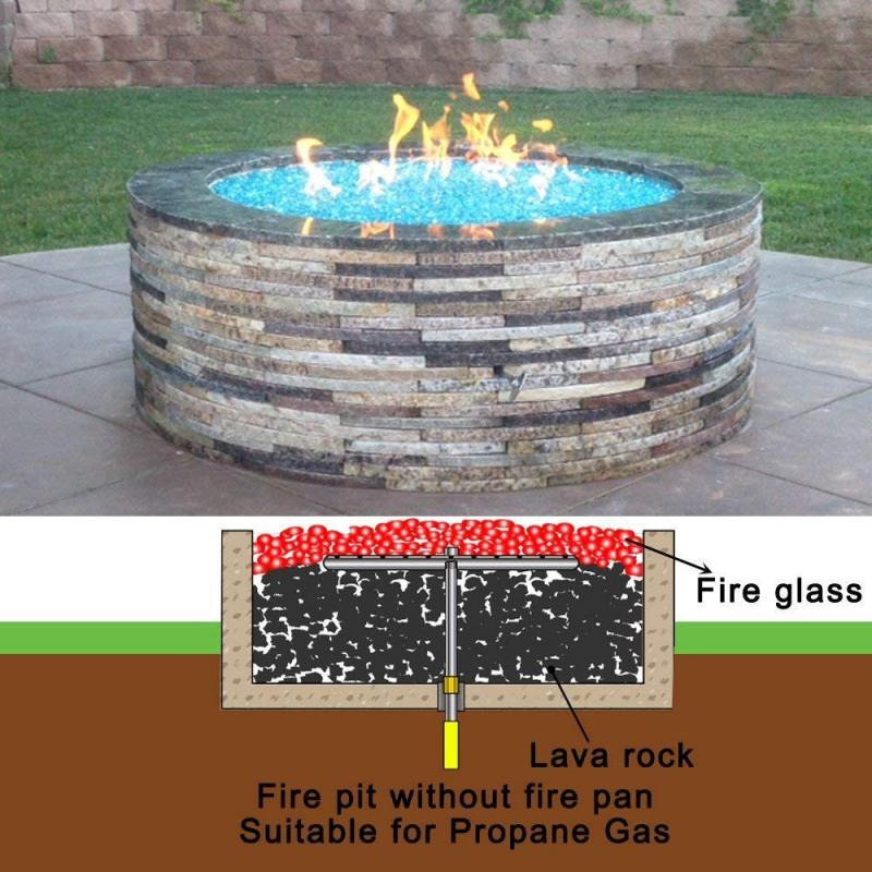 Stanbroil LP Propane Gas Fire Pit Burner Ring Installation Kit, Black Steel, 12-inch