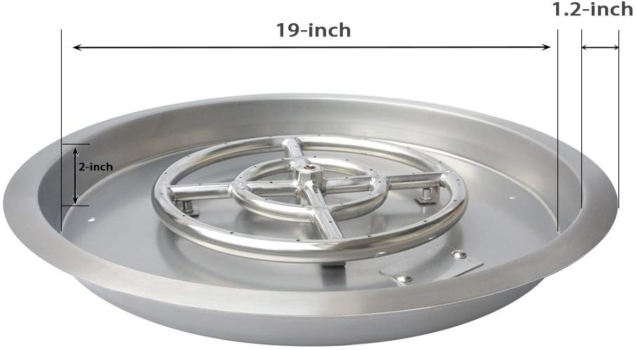 Stanbroil Round Stainless Steel Drop-In Fire Pit Burner Pan, 19 Inches