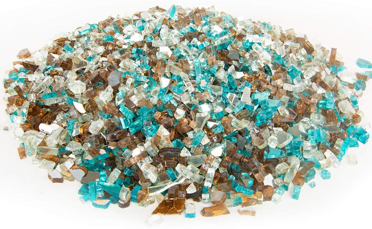 Stanbroil 10-Pound 1/4 Blended Caribbean Blue,Platinum,Copper Reflective for Indoor and Outdoor Gas Fire Pits and Fireplaces