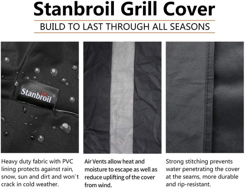 Stanbroil Gas Grill Cover, 600D Heavy Duty Waterproof Full Length BBQ Cover Fits KitchenAid Both 3 and 4 Burner Grills