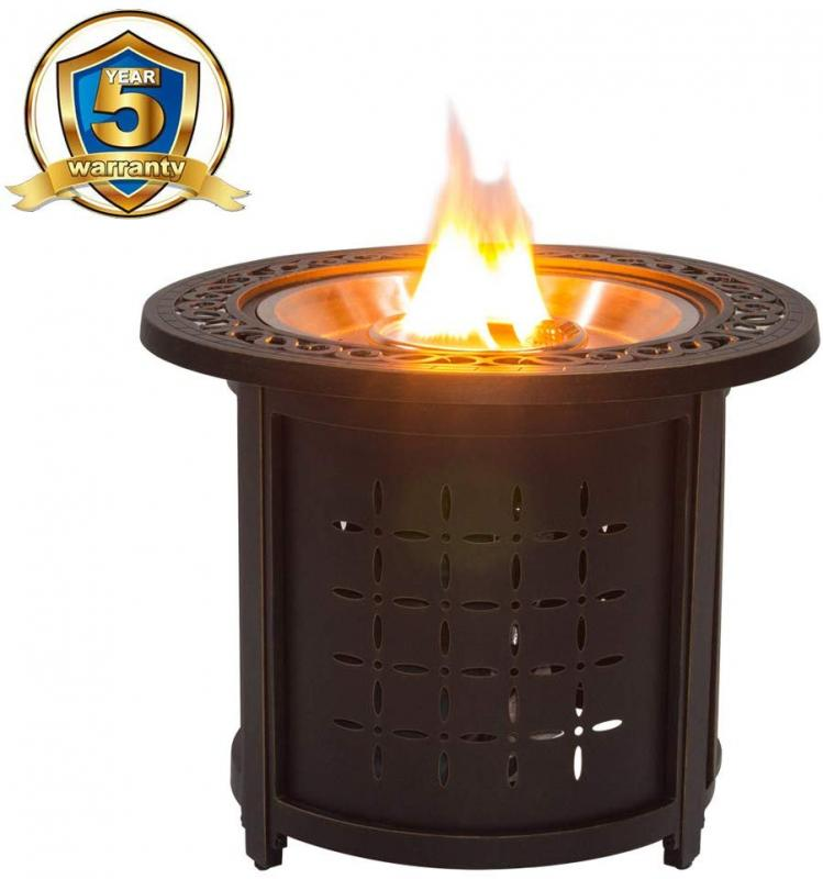 "Stanbroil 30"" Round Cast Aluminum Outdoor Propane Gas Fire Pit Table with Round Burner Ring, Bronze"