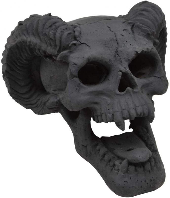 Stanbroil Fireproof Fire Pit Skull Gas Log for Fireplace, Firepit, Camp Fire, Halloween Decor - Black Skull, 1pk