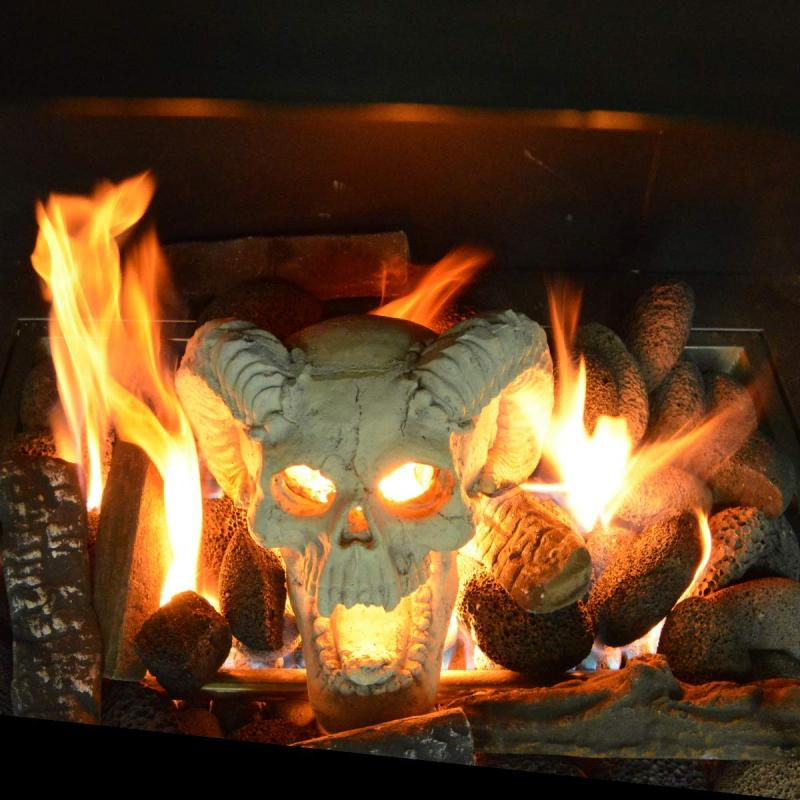 Stanbroil Demon Fireproof Fire Pit Fireplace Skull Gas Log