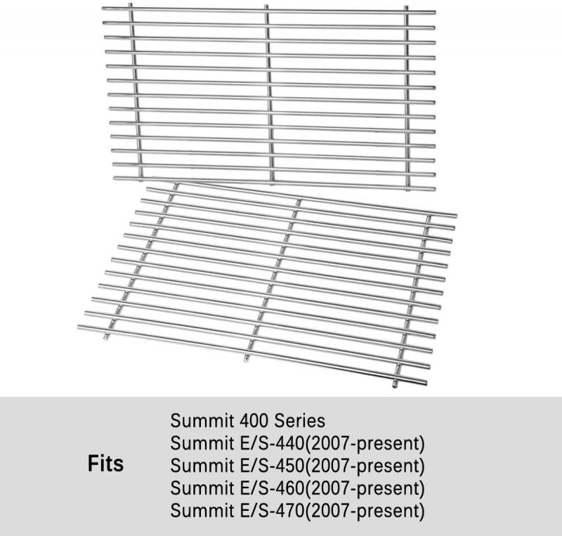 Stanbroil Stainless Steel Cooking Grates Fit Weber Summit 400 Series Summit E/S 450/440/460/470 Gas Grills with Smoker Box, Replacement Parts for Weber 67550 - Set of 2