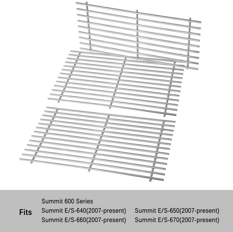 Stanbroil Stainless Steel Cooking Grates Fit Weber Summit 600 Series Summit E/S 640/650/660/670 Gas Grills with a Smoker Box, Replacement Parts for Weber 67552 - Set of 3