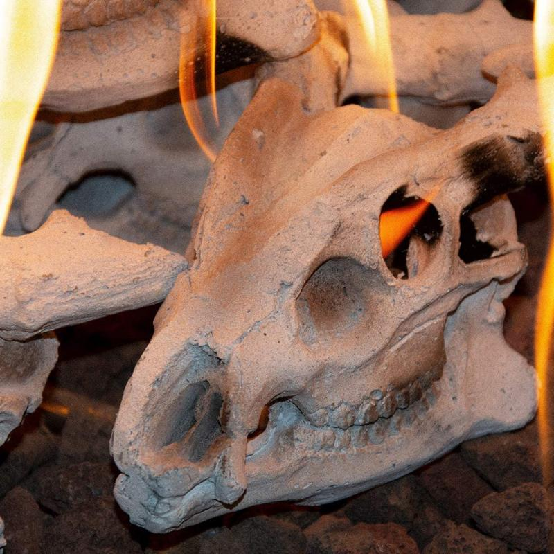 Stanbroil Fireproof Fire Pit and Fireplace Skull Gas Log for Natural Gas/Liquid Propane, Halloween Decor,1-Pack - Patent Pending