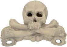 Stanbroil Imitated Human Skulls and Bones Gas Log Decoration, Halloween Decor for Indoor and Outdoor Fireplaces and Fire Pits, 1-Pack, White - Patent Pending