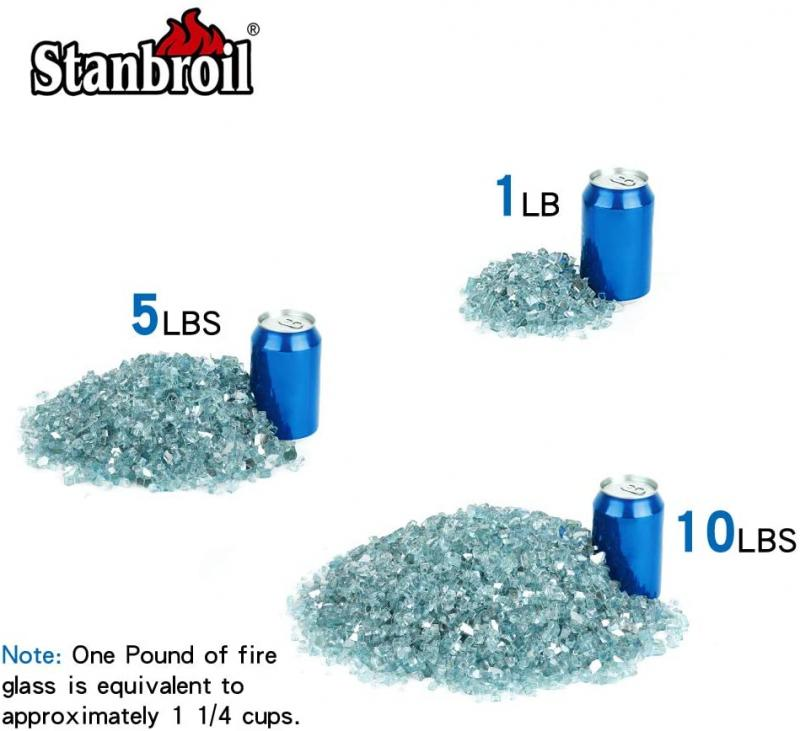 Stanbroil 10-Pound 1/4 inch Tempered Fire Glass for Fireplace Fire Pit, Aqua Blue Reflective