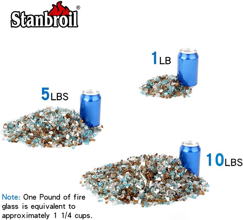 Stanbroil 10-Pound Blended Fire Glass - 1/4 inch Reflective Tempered Fire Glass Blended Aqua Blue, Platinum, Copper Reflective for Indoor and Outdoor Gas Fire Pits and Fireplaces