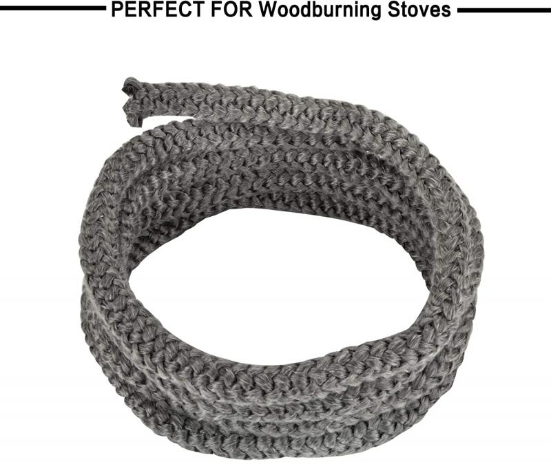"Stanbroil Graphite Impregnated Fiberglass Rope Seal and High Temperature Cement Gasket Kit Replacement for Wood Stoves - 1/2"" x 84"""