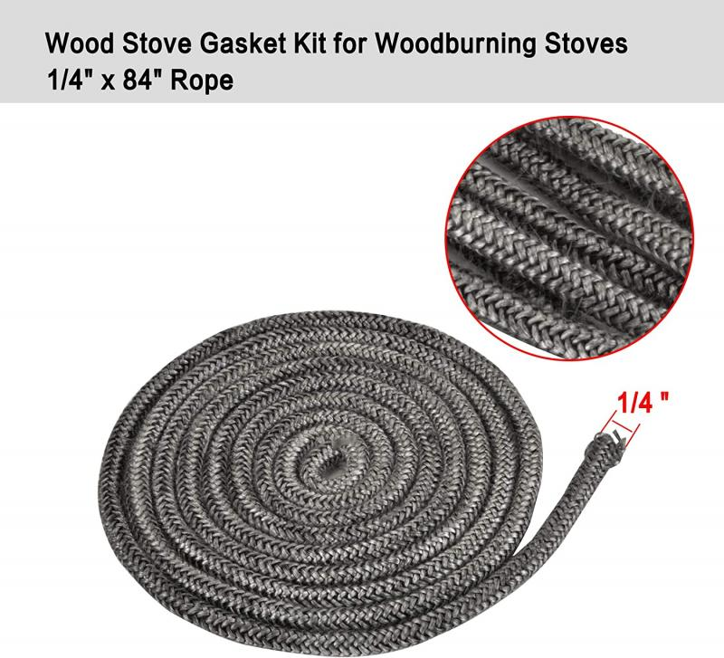"Stanbroil Graphite Impregnated Fiberglass Rope Seal and High Temperature Cement Gasket Kit Replacement for Wood Stoves - 1/4"" x 84"""