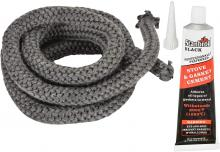 Stanbroil Graphite Impregnated Fiberglass Rope Seal and High Temperature Cement Gasket Kit Replacement for Wood Stoves - 5/8