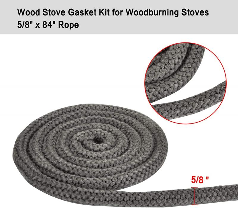 "Stanbroil Graphite Impregnated Fiberglass Rope Seal and High Temperature Cement Gasket Kit Replacement for Wood Stoves - 5/8"" x 84"""