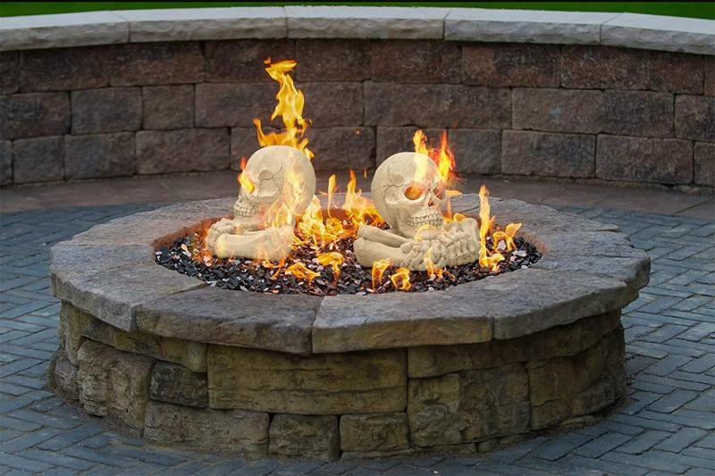 Stanbroil Fireproof Imitated Human Skull with Bones and Hands Gas Log for Indoor or Outdoor, Fireplaces, Fire Pits, Halloween Decor, 1-Pack - Patent Pending