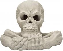 Stanbroil Fireproof Imitated Human Skull with Bones and Hands Gas Log for Indoor or Outdoor, Fireplaces, Fire Pits, Halloween Decor, 1-Pack, White - Patent Pending