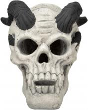Stanbroil Fireproof Fire Pit Fireplace Demon Skull Gas Log for Ventless & Vent Free, Propane, Gel, Ethanol, Electric, Outdoor Fireplace and Fire Pit, Halloween Decor, White - Patent Pending